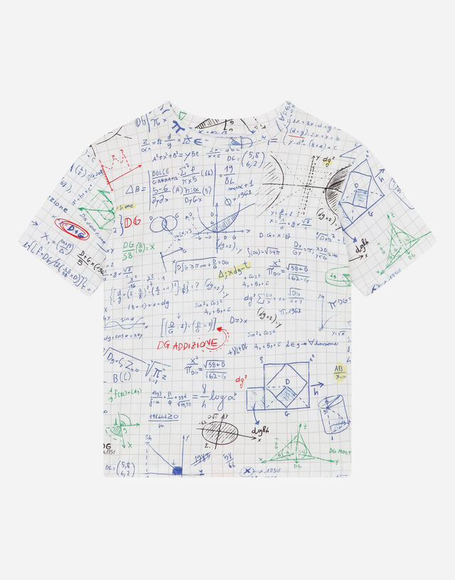 Jersey T-shirt with algebra print in Multicolor