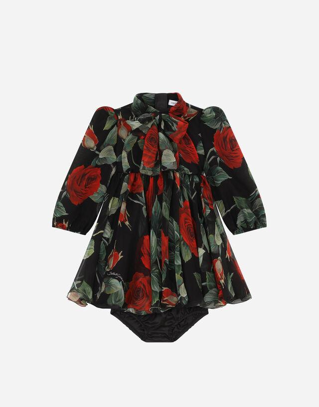 Long rose-print chiffon dress in Multicolor