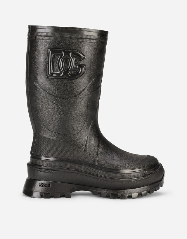 Metallic rubber boots with DG logo in Black