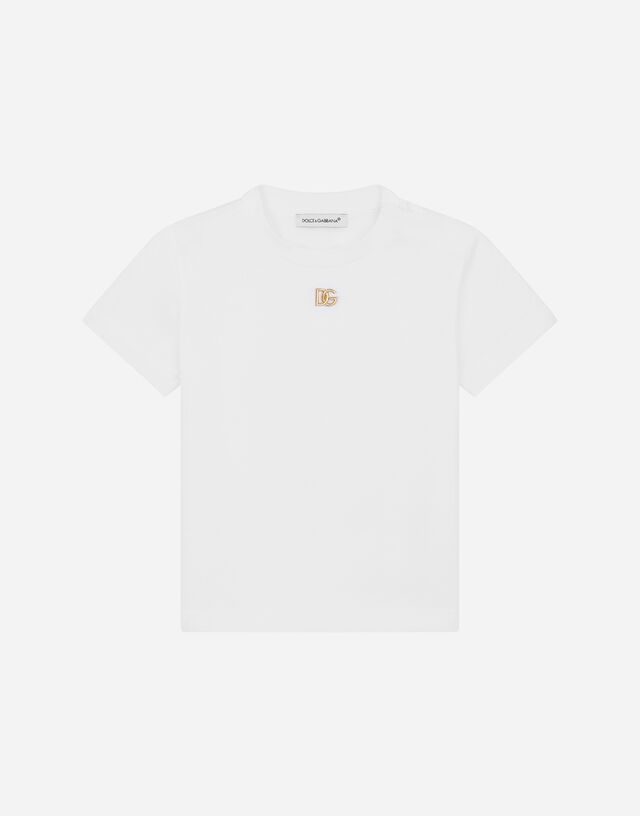Jersey T-shirt with metal DG logo in White