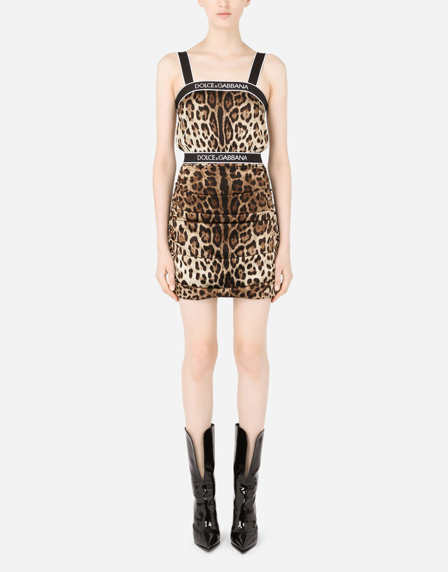 Leopard-print stretch satin minidress with branded elastic in Multicolor