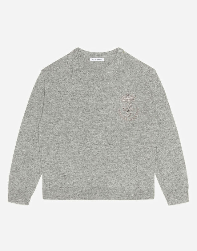 Crew neck cashmere sweater with heritage embroidery in Grey