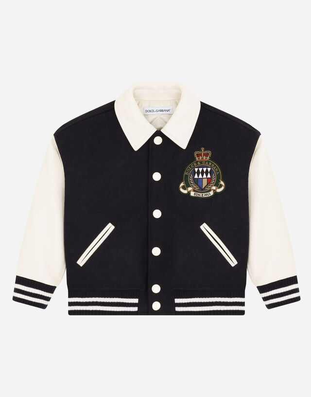 Jacket with leather sleeves and embroidered emblem in Multicolor