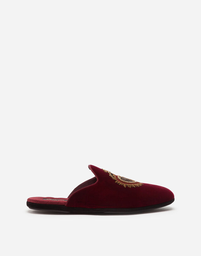 Velvet slippers with sacred-heart embroidery in BORDEAUX