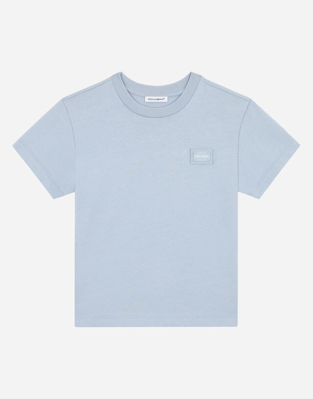 Jersey T-shirt with logo plate in Azure