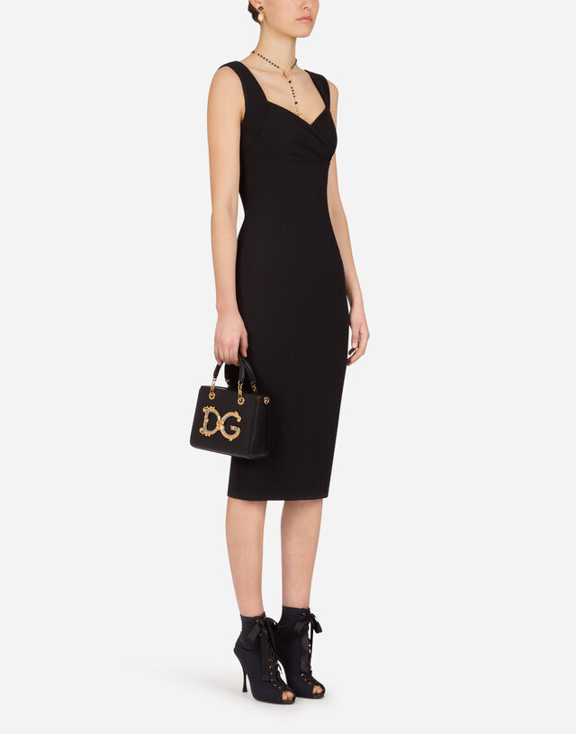 Jersey calf-length dress with sweetheart neckline in BLACK