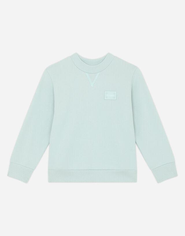Round-neck jersey sweatshirt with logo tag in Azure
