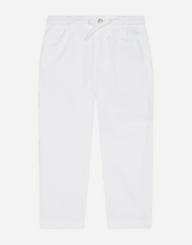 Poplin pants with embroidered logo in White