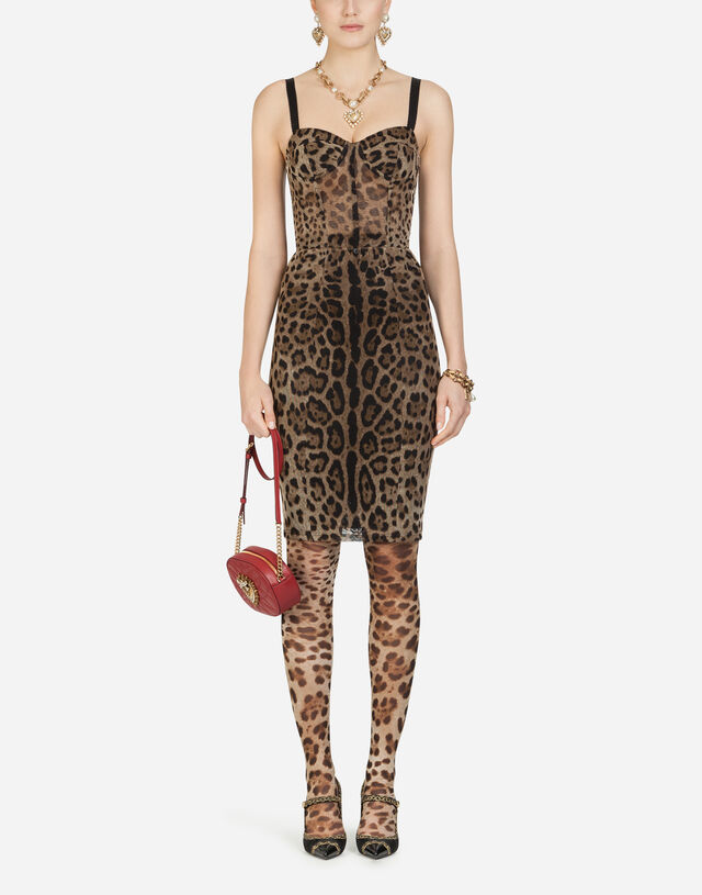 Tulle midi bustier dress with leopard print in LEO PRINT
