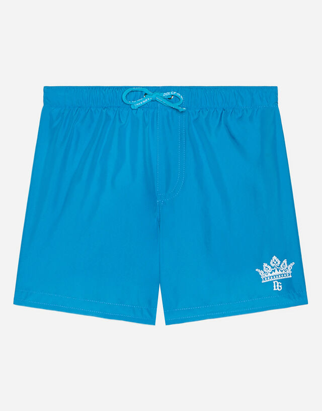 Nylon swimming trunks with logo print in Turquoise