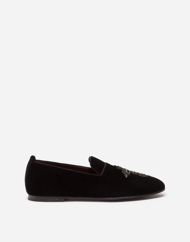 Velvet slippers with embroidery in BLACK