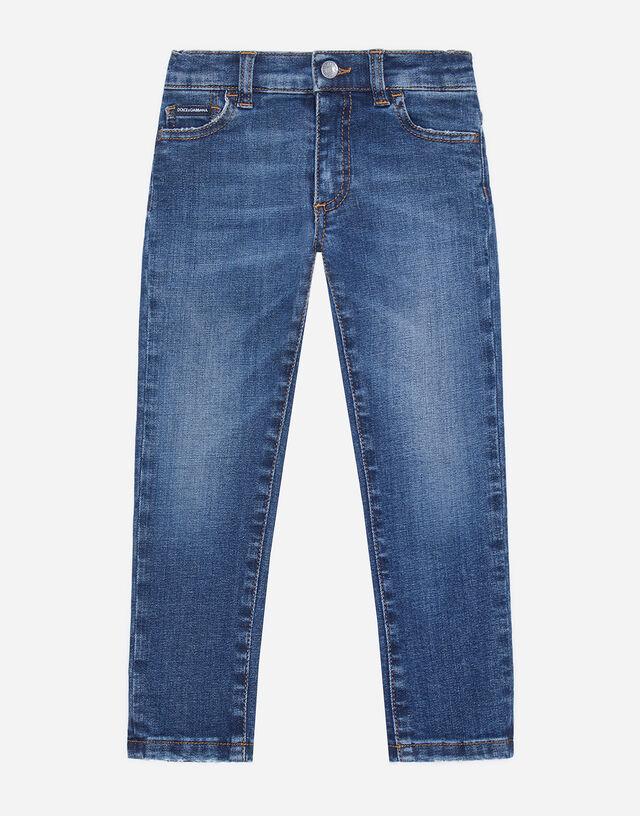 Dark blue slim-fit stretch jeans in Blue