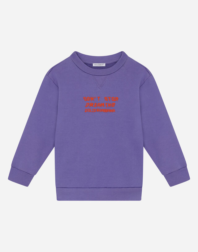 Round-neck jersey sweatshirt with 3D print in Purple