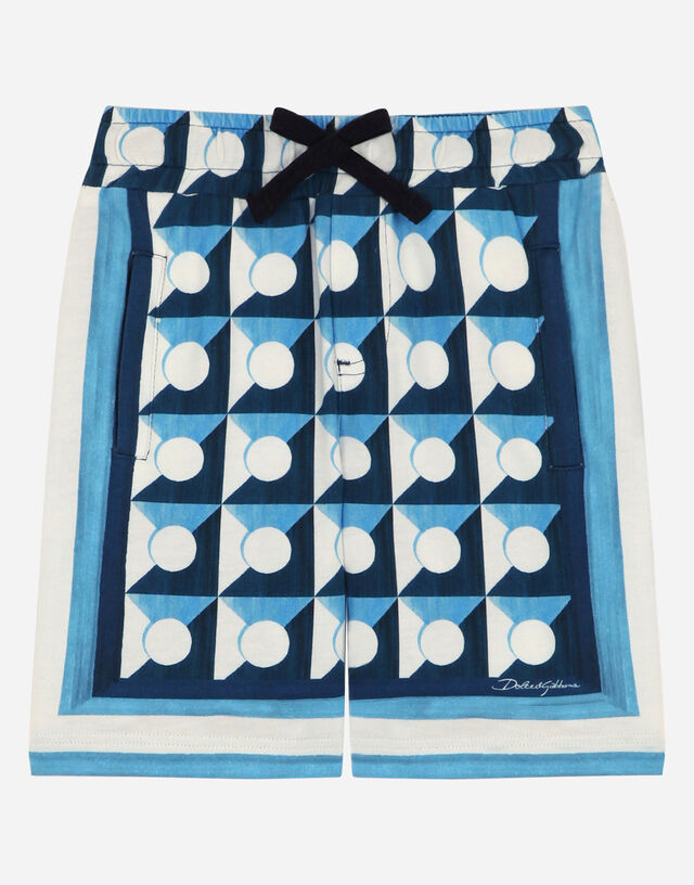 Jersey jogging shorts with geometric print in Multicolor