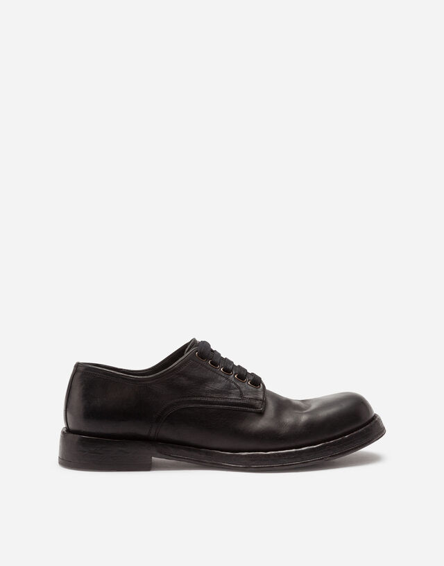 Horsehide derby shoes in BLACK
