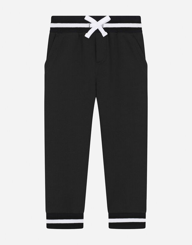 Jersey jogging pants with logo print in Black