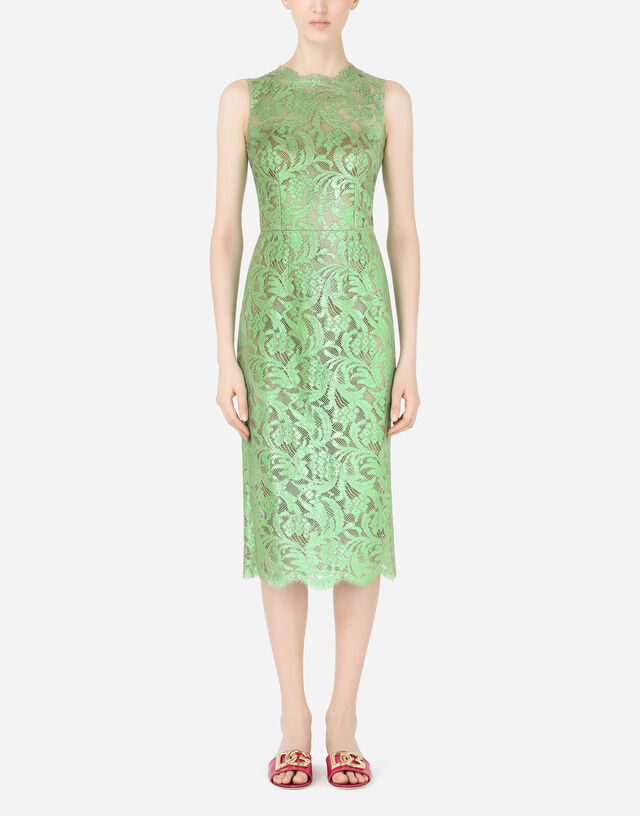 Laminated lace calf-length dress in Green
