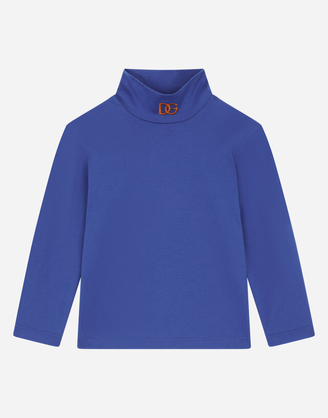 Jersey turtle-neck with DG logo embroidery in Blue