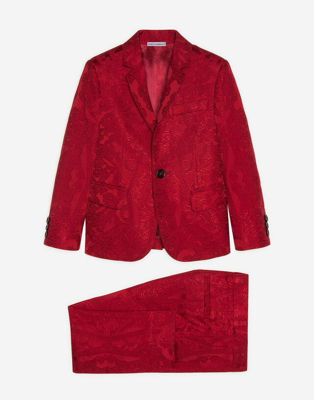 Single-breasted suit in ornamental jacquard in Red
