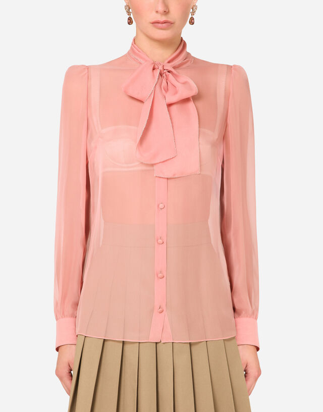 Chiffon shirt with pussy bow in PINK