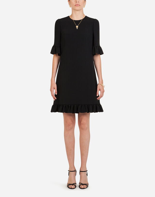 Short cady dress with ruche detailing in BLACK