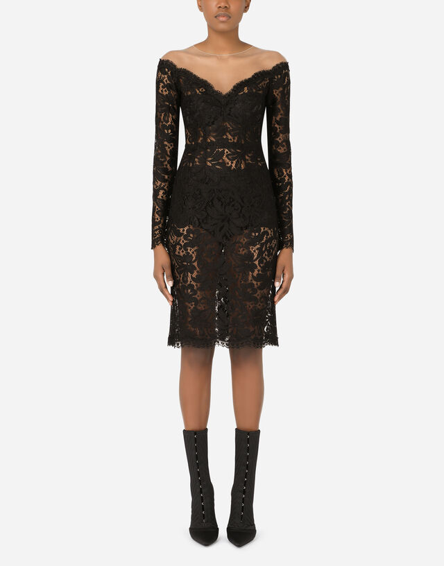 Lace and tulle midi dress in Black