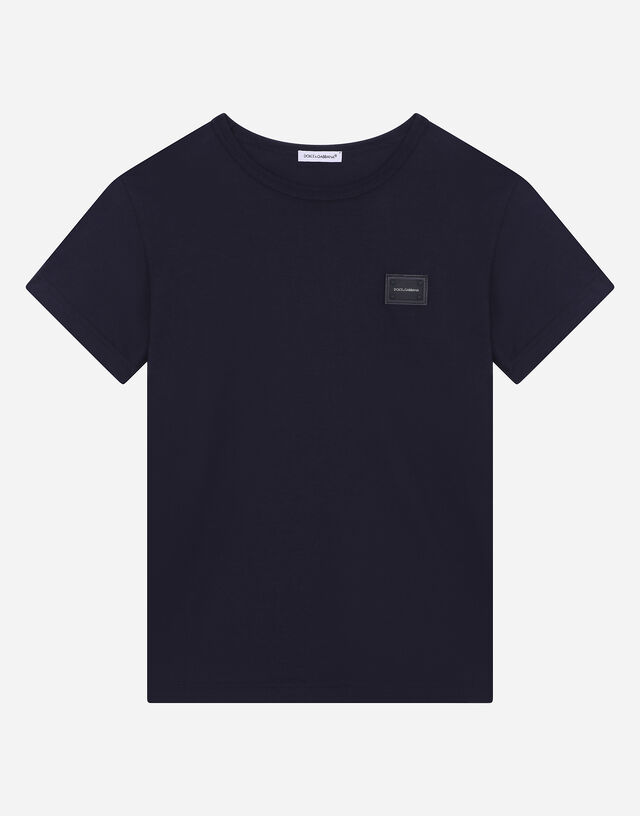 Jersey T-shirt with logo plate in Blue