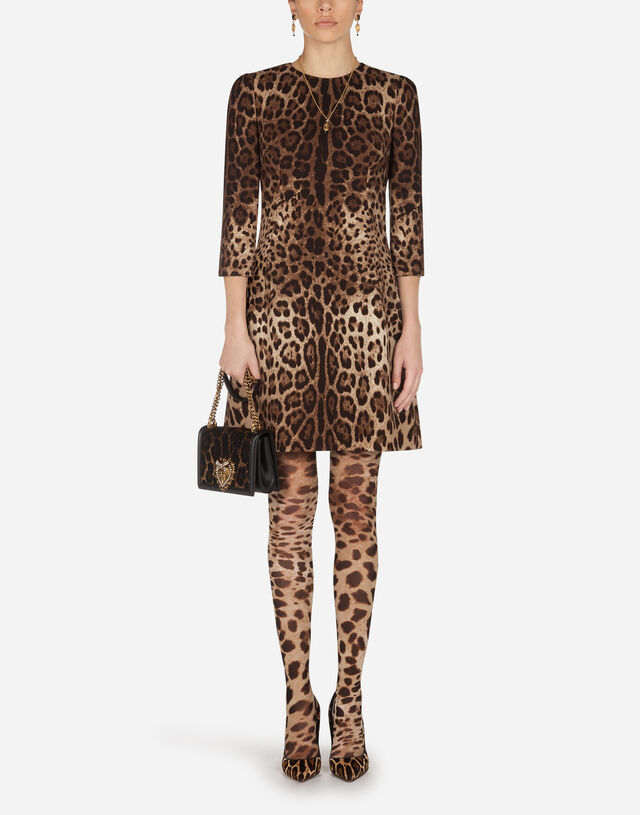 Short leopard print dress in double crêpe in ANIMAL PRINT