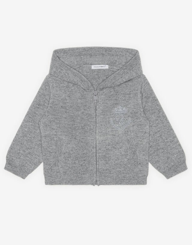 Hooded cashmere sweater with heritage embroidery in Grey