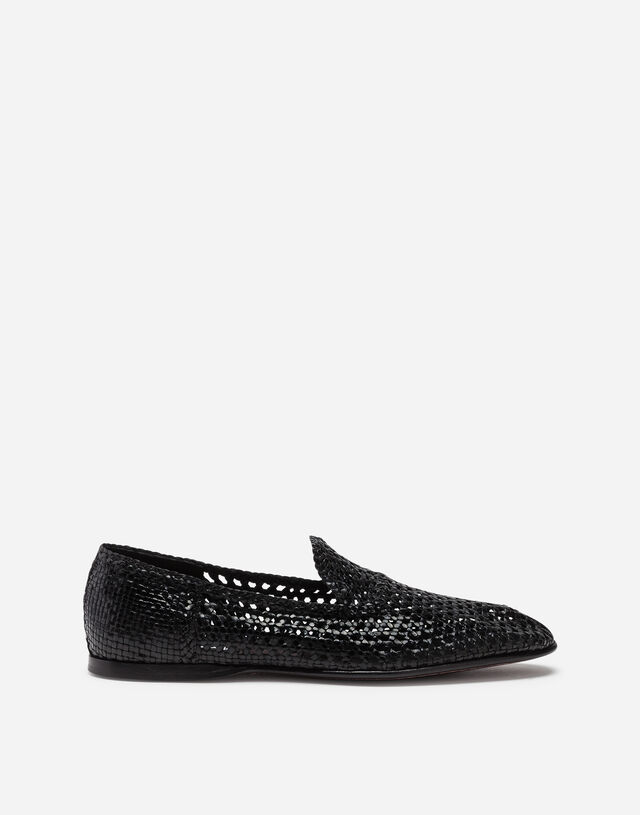 Hand-woven slippers in BLACK