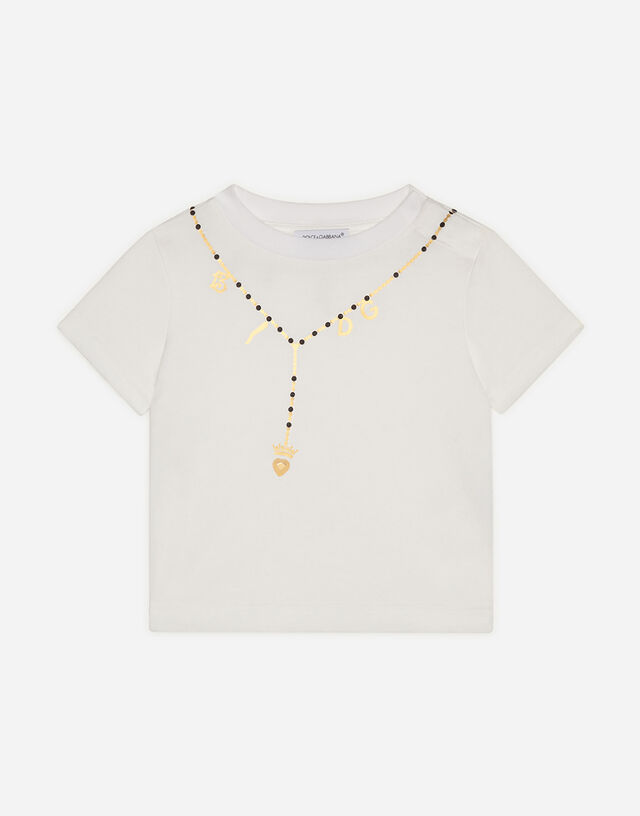 Jersey t-shirt with necklace print in White