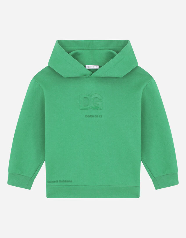 Jersey hoodie with embossed DG logo in Green
