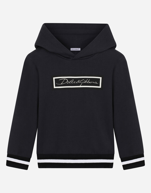 Jersey hoodie with logo print in Blue