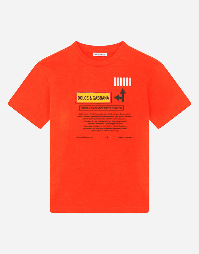 Jersey T-shirt with road-sign print in Multicolor