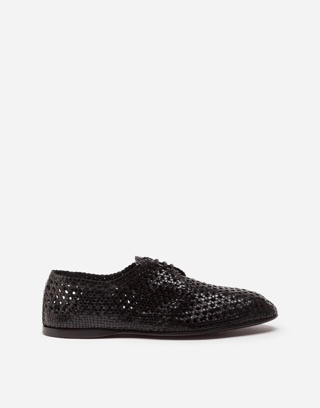 Hand-woven derby shoes in BLACK