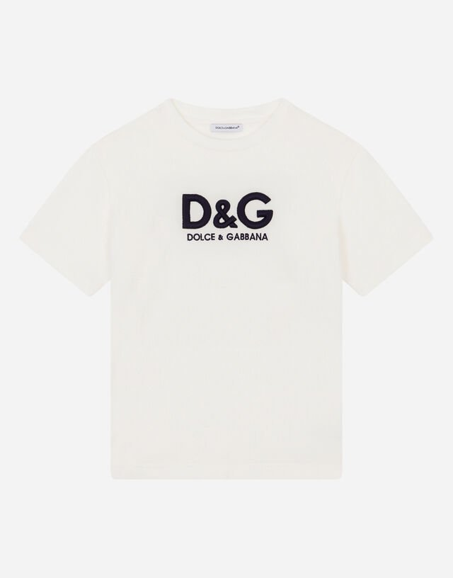 Jersey T-shirt with logo embroidery in White