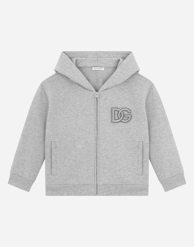 Jersey hoodie with DG logo patch in Grey