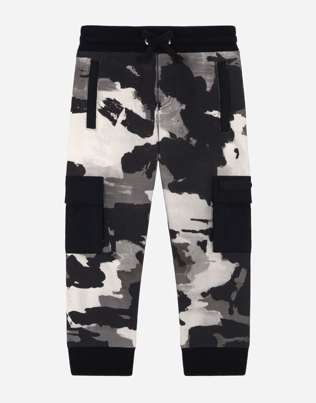 Jersey jogging pants with camouflage print in Multicolor
