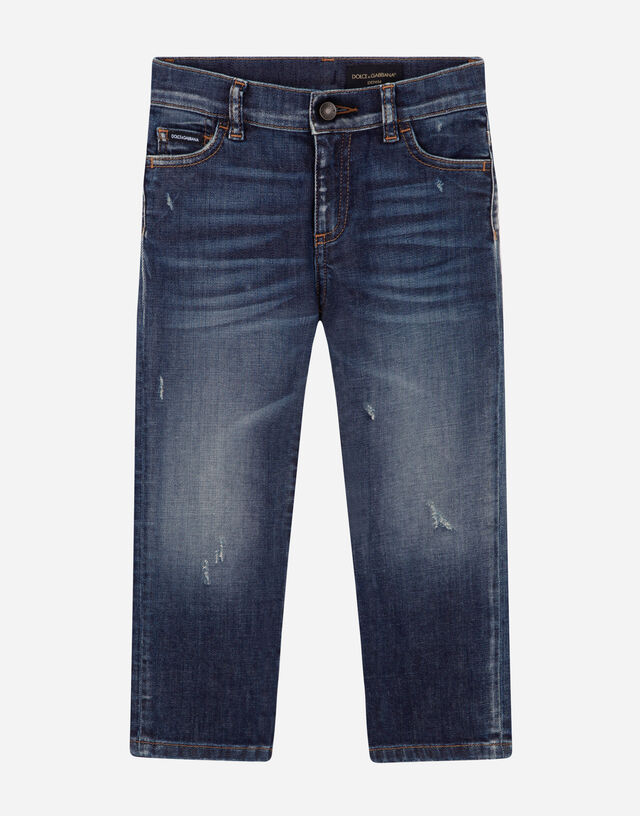 Regular-fit blue wash stretch jeans in Blue