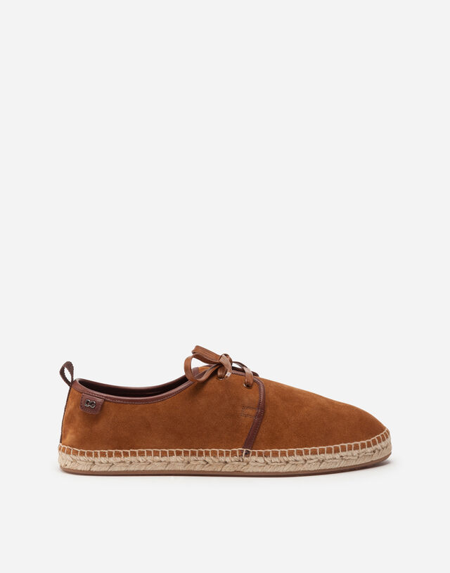 Suede lace-up espadrilles with rope sole in BROWN