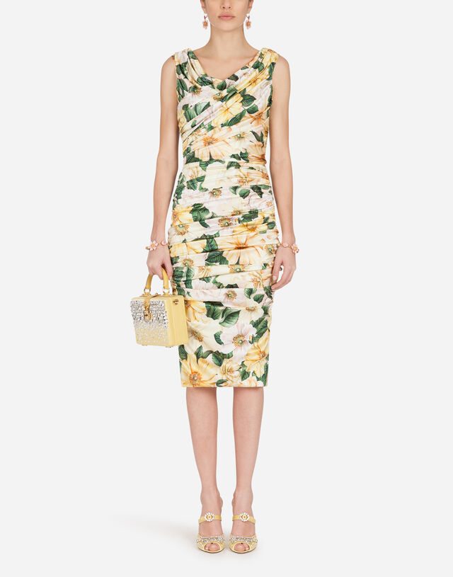 Camellia-print satin midi dress with draping in MULTICOLOR