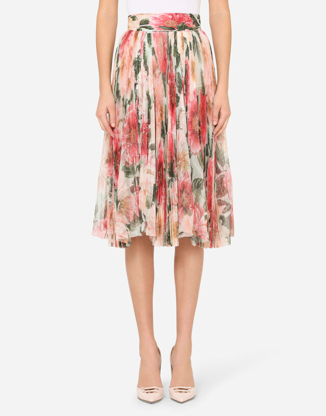 Pleated midi skirt in camellia-print tulle in FLORAL PRINT