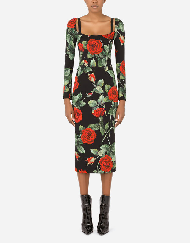 Charmeuse calf-length dress with rose print in Multicolor