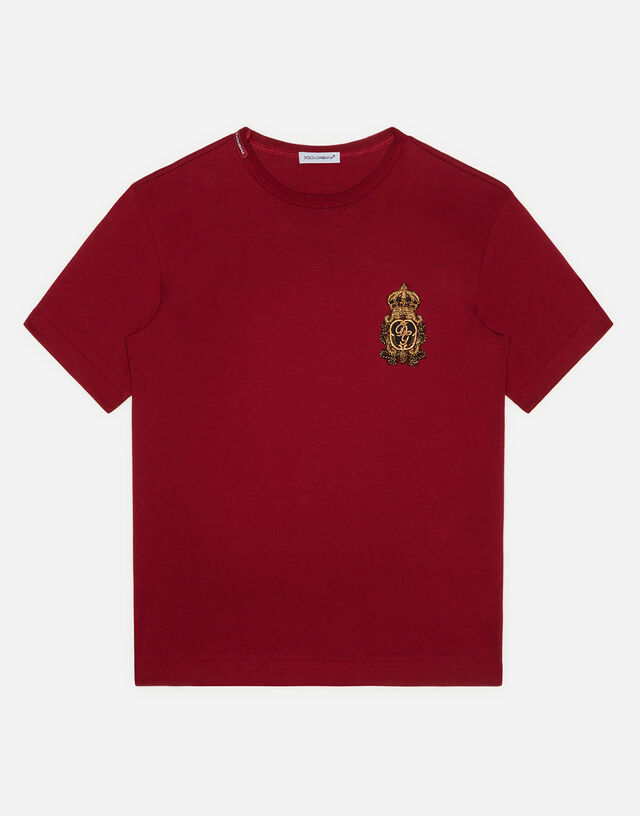Jersey T-shirt with heraldic DG patch in Red