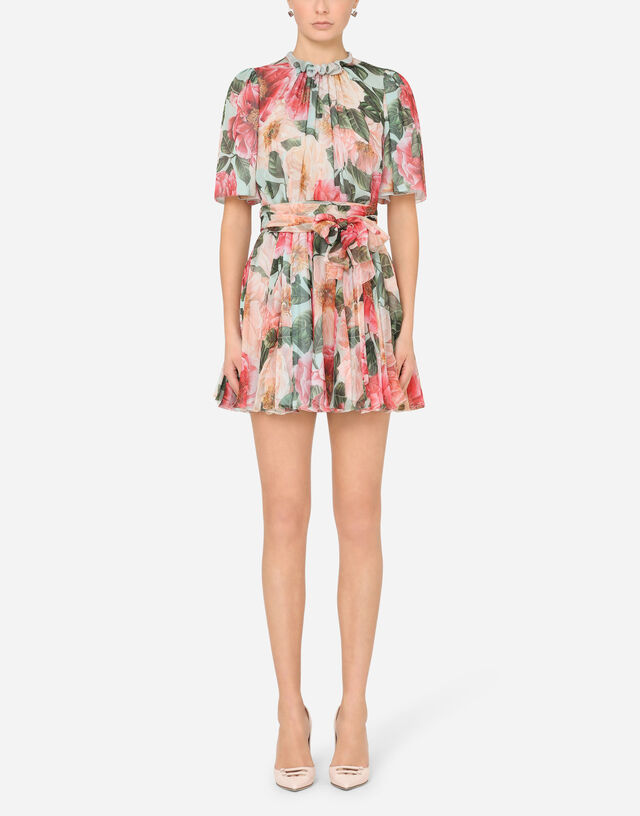Short camellia-print chiffon dress in FLORAL PRINT