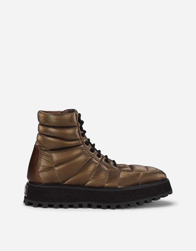 Quilted nylon ankle boots with branded plate in Bronze
