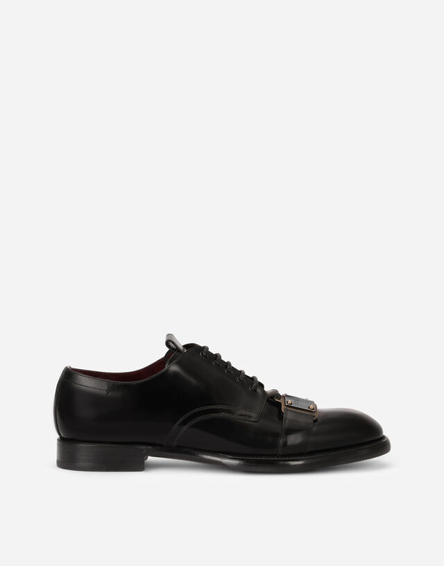 Brushed calfskin Derby shoes with branded plate in Black