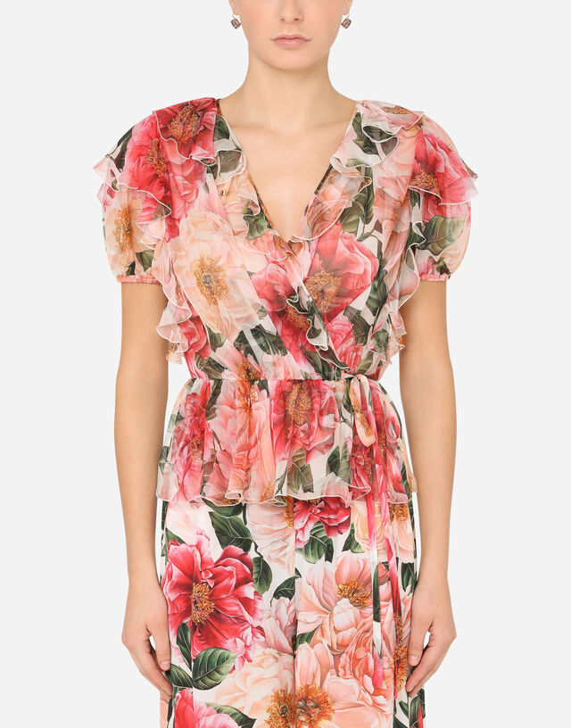Short-sleeved chiffon shirt with camellia print in MULTICOLOR