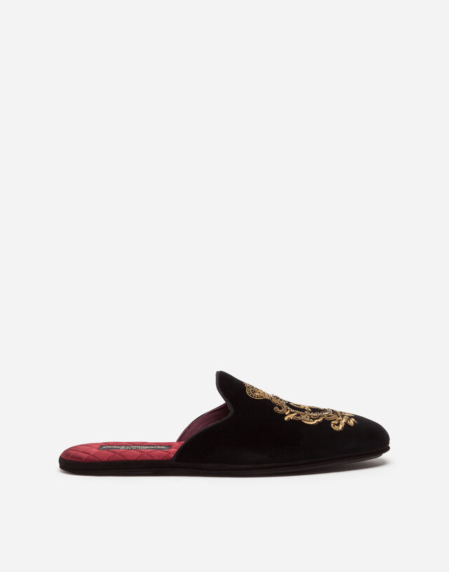 Velvet slippers with coat of arms embroidery in BLACK
