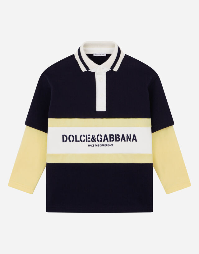 Long-sleeved color-block jersey polo-shirt in Multicolor